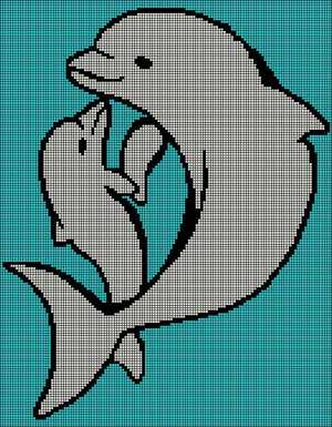 Adult and Baby Dolphin 131x168