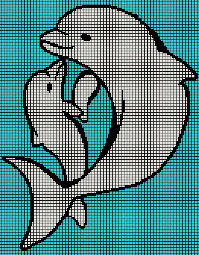 Adult And Baby Dolphin Tunisian Simple Stitch Crochet Afghan Graph
