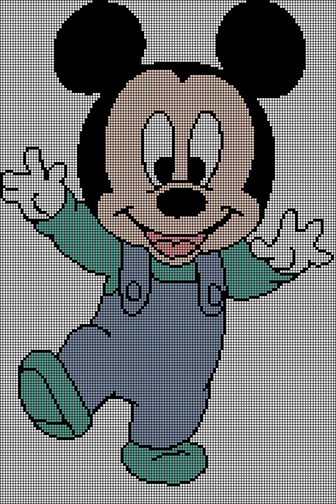 Baby Mickey Tunisian Simple Stitch Crochet Afghan Graph Pattern 1